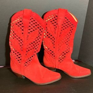 Charles David Red Suede Boots - 7.5